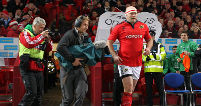 Munster legend John Hayes in his final match for Munster at Thomond Park