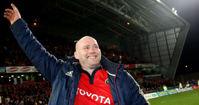John Hayes waves goodbye to the crowd in Thomond Park