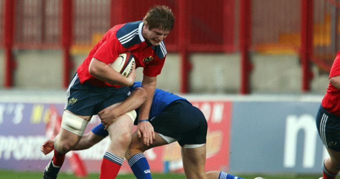 Munster U20's John Madigan in action against Leinster last week-end at Thomond Park