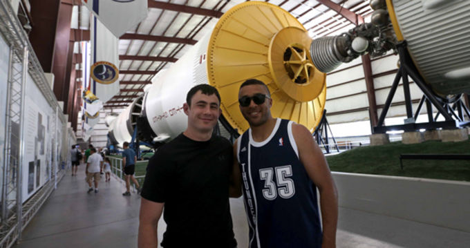 Felix Jones and Simon Zebo on a visit to the Houston Space Centre