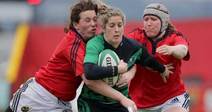 Niamh Kavanagh and Heather O'Brien tackle Alison Miller