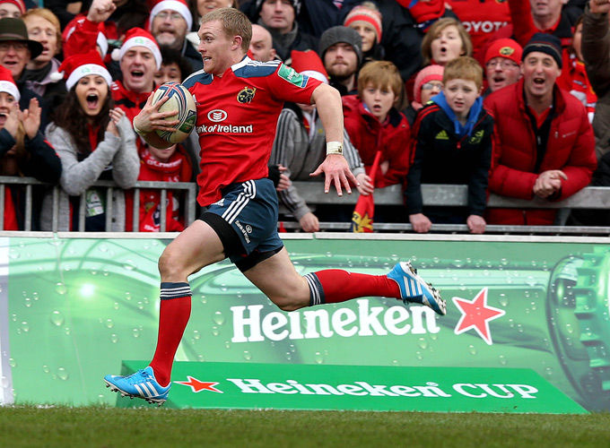 Keith Earls - doing what he does best - in full flight