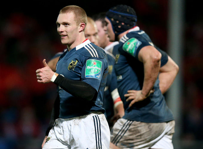 Keith Earls gives the thumbs up after scoring the first try in Kingsholm