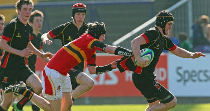 Kelvin Brown, ASR, breaks away from Cian Barry of CBC in the Munster Schools Junior Cup Fianl 2012. Both players will be in action today.