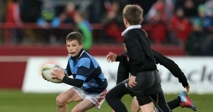 Kilfeacle & District U12s in action against Newcastlewest during half time of the Munster v Leinster game last Saturday in Thomond Park.