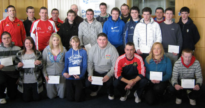 John Lacey & Colm McMahon, Coach Development Officers presenting the LIT Sports Management Class with their Mini Coaching Rugby Certificates