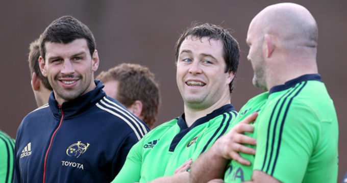 Denis Leamy, Marcus Horan and John Hayes at training in UL