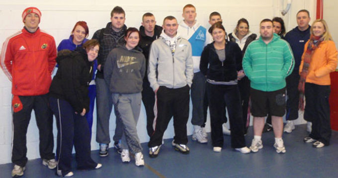 Limerick Regeneration Rugby Officer Andrew Brance pictured with Lep Rugby Course participants