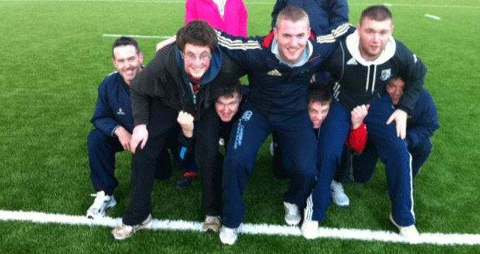 Participants during the scrum module at the Foundation Coaching Course in UL