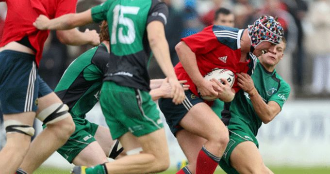 Munster's Luke O'Leary on the charge
