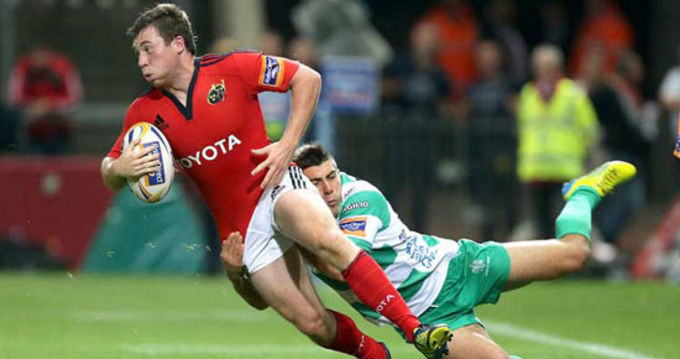 Luke O'Dea looks for the support against Treviso