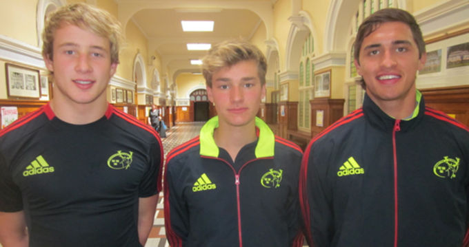 First year academy players Gearoid Lyons, Jack Cullen and Greg O'Shea at the Munster Rugby Talent Camp in Rockwell