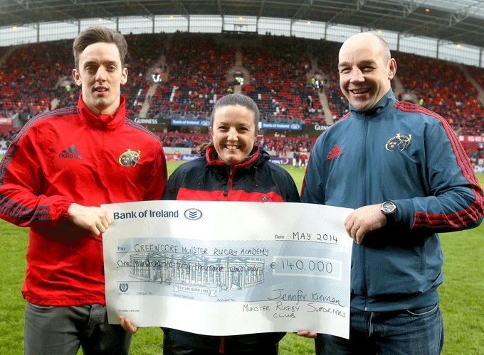 MRSC Chairman Elaine Blacksheilds presents a cheque to the value of 140,000 euro to Elite Player Development Manager Peter Malone and Academy Player Darren Sweetnam during half time at Saturday's Ulster game in Thomond Park