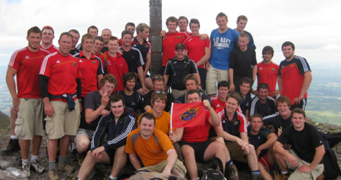 The Munster Rugby Academy and Sub Academy take a rest at the top of the peak