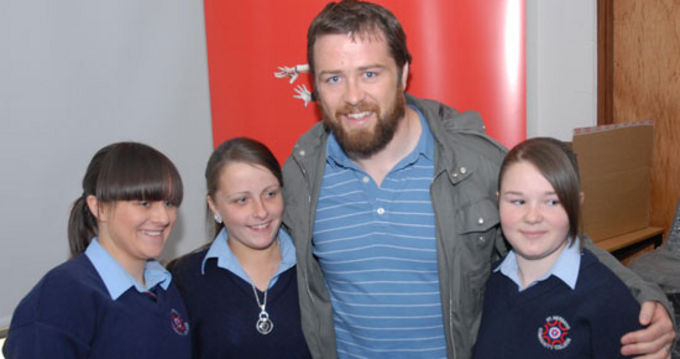 Marcus Horan with students from St. Nessans Community College