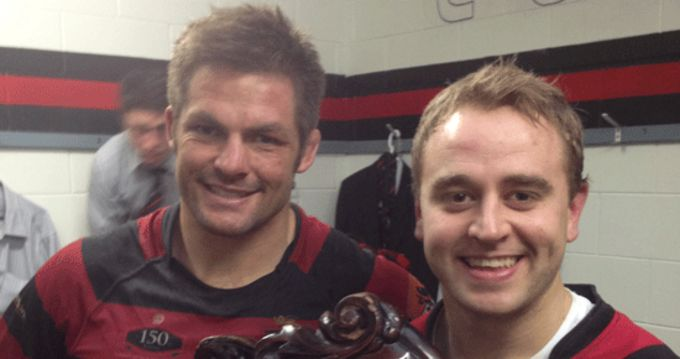 Former St. Senan's player Diarmuid McMahon pictured with All Black Richie McCaw