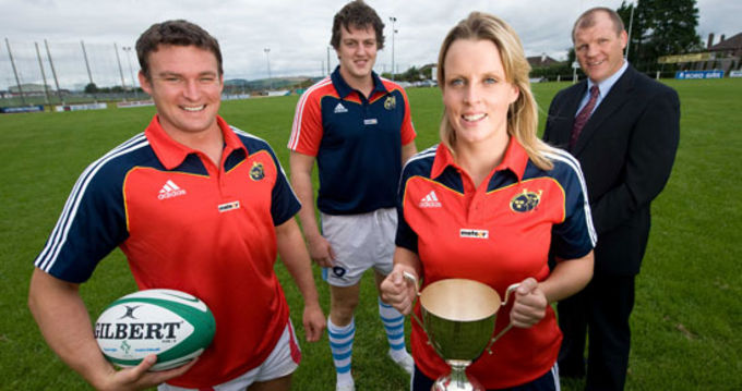 John Silke Cashel RFC, Ed Mackey Garryowen FC, Helen Jones Highfield RFC and Provincial Domestic Game Manager Ultan O'Callaghan launch the 2009 Meteor Munster Rugby 7s