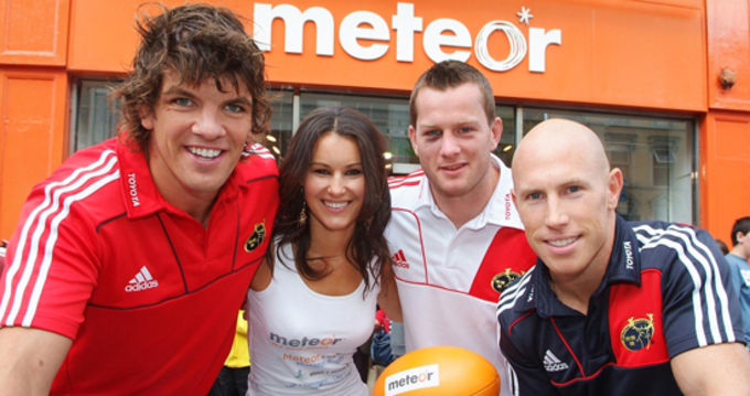 Munster Rugby players Donncha O'Callaghan, Denis Hurley and Peter Stringer help announce the Meteor Munster Rugby partnership today in Cork