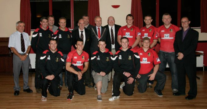 Members of Midleton RFC pictured with Cork County Mayor Noel O'Connor