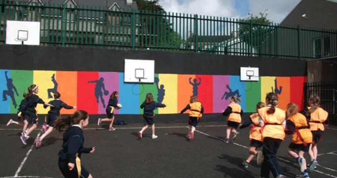 Pupils from Scoil Barra, Monkstown, taking part in a Munster Rugby Tag Blitz