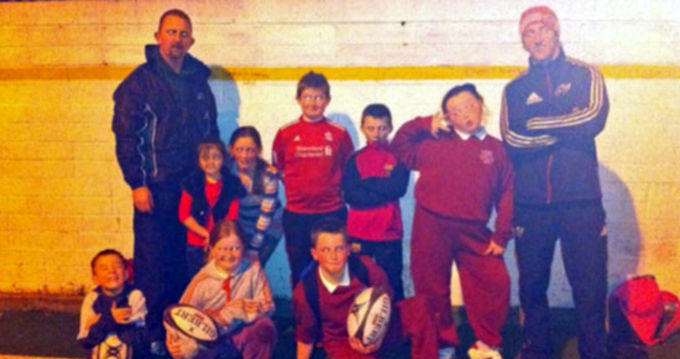 Andy Brace, Community Rugby Officer pictured with 'After School Club' participants