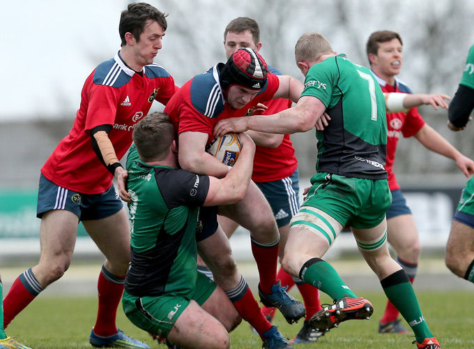 Munster A on the attack against Connacht Eagles