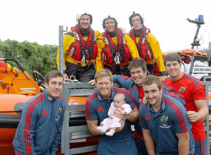 Meeting one of Munster's youngest fans while catching up with RNLI crew members in Waterford during last year's Munster Race.