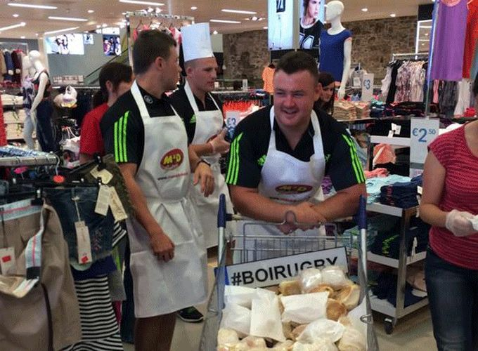 Group 3 try to sell some blaas for charity in Penneys, Waterford city.