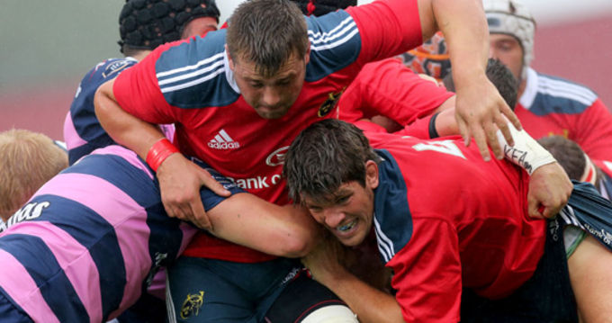 CJ Stander and Donncha O'Callaghan in action against Gloucester in the pre-season game in Thomond Park