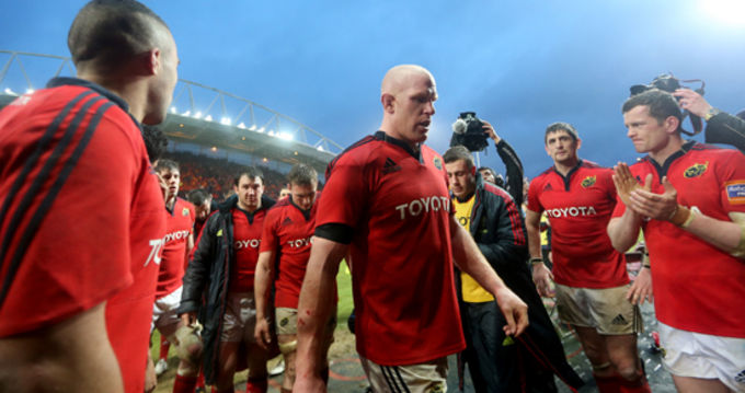 Munster players disappointed at the end of the game on Saturday in Thomond Park