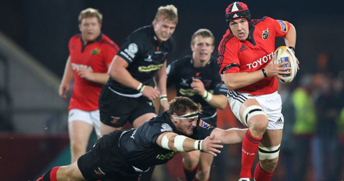 Niall Ronan in action against Newport Gwent Dragons in Thomond Park last September