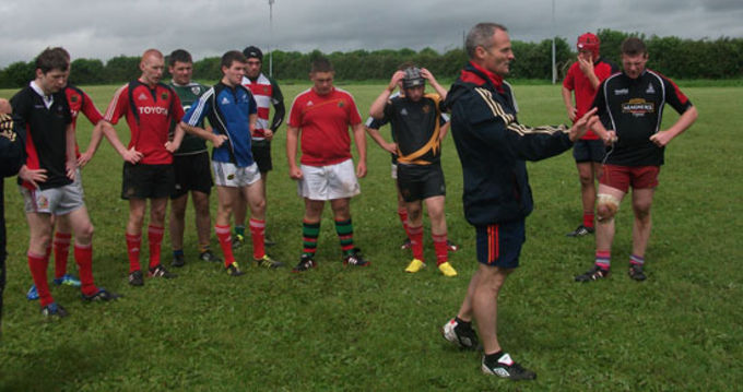 Munster U18 Clubs Head Coach Noel O'Meara addresses his squad at Nenagh Ormond RFC
