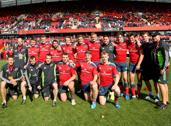 The Munster 7s squad and management team in Thomond Park today