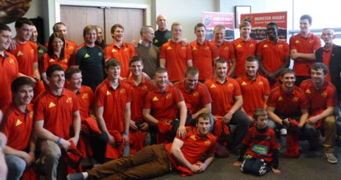 Munster U18 Clubs squad pictured with Paul O'Connell at Thomond Park