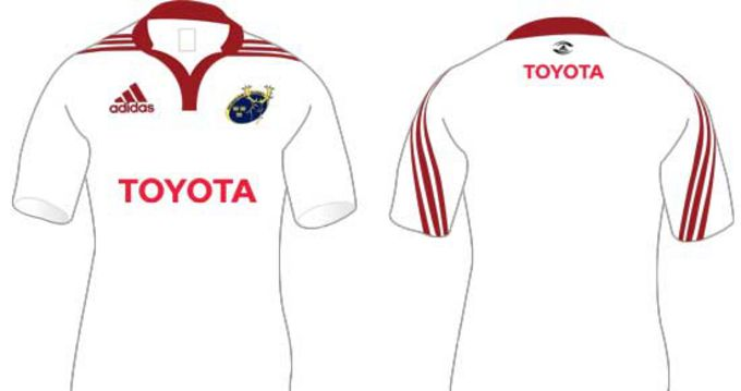Munster will wear this white jersey only for the Heineken Cup game away to Saracens