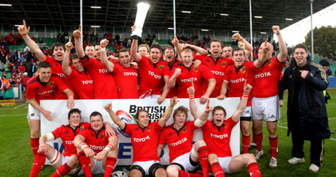 Munster celebrate their British and Irish Cup win in Musgrave Park in April