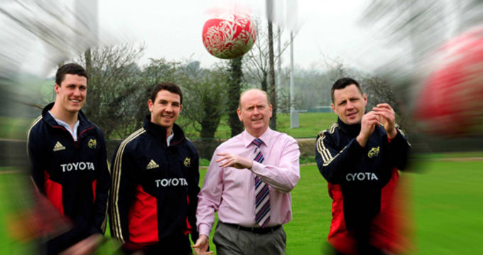 At the launch of the 2011 Munster Rugby Awards in association with the Irish Examiner were Ian Nagle, Paddy Butler and James Coughlan (the 2011 player of the year) with Tony Leen, Sports Editor, Irish Examiner.