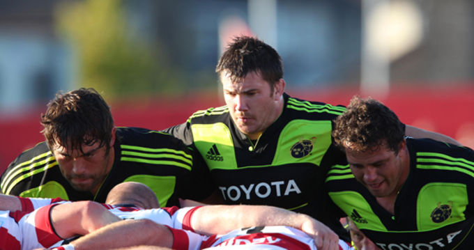 Munster front row in action against Gloucester