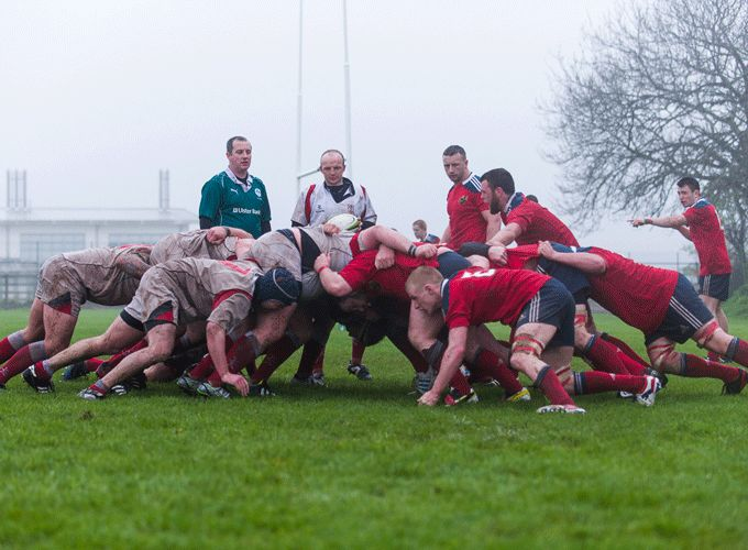 Munster Juniors in action against Ulster last Saturday at Youghal RFC