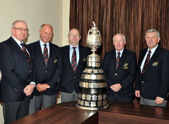 Ger Malone, Chairman of Domestic Rugby; Bertie Smith, Vice President; Tom Kinirons, Hon. Treasurer, Mick Goggin, President and Gerry O'Shea Junior Vice President at the Munster Senior Challenge Cup draw.
