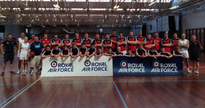 The Munster U19s on tour with their accommodation hosts at St. Athans RAF base