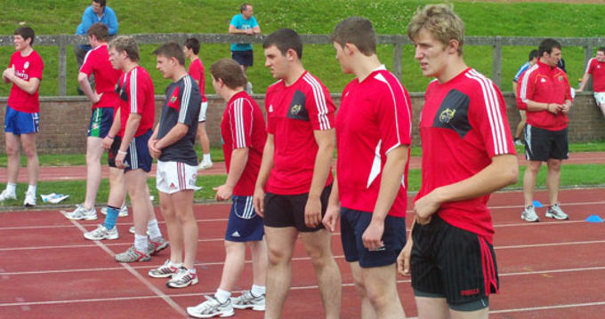 Munster U18 Youth Squad line up as part of their fitness testing in U.L.