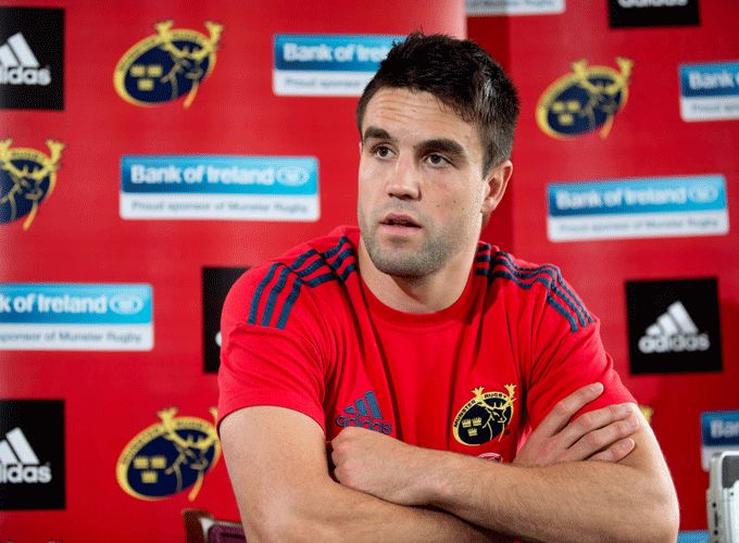Conor Murray speaking to the media after training in UL today