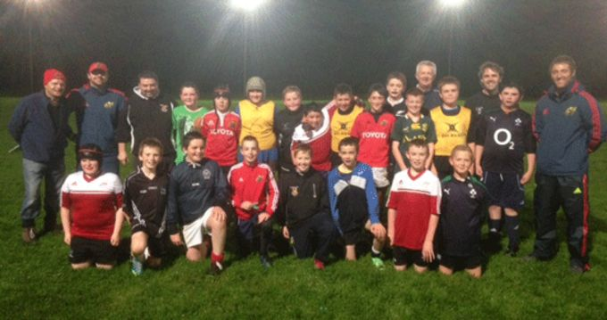 Newcastlewest U13 squad pictured with Munster Rugby Coaching Officers Euan Gee and Andy Brace