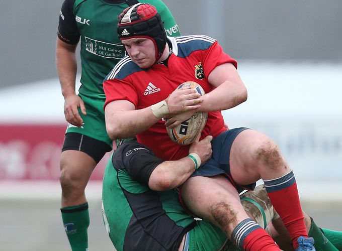 Greencore Academy prop Niall Horan in action against Connacht A