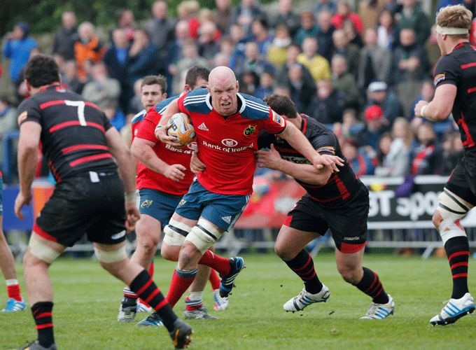 Paul O'Connell in action against Edinburgh last season. Munster will face the Scotsmen in their PRO12 opener at Thomond Park.
