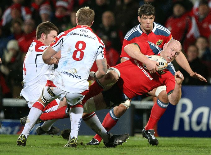 Paul O'Connell breaks the tackle of Ulster's Iain Henderson