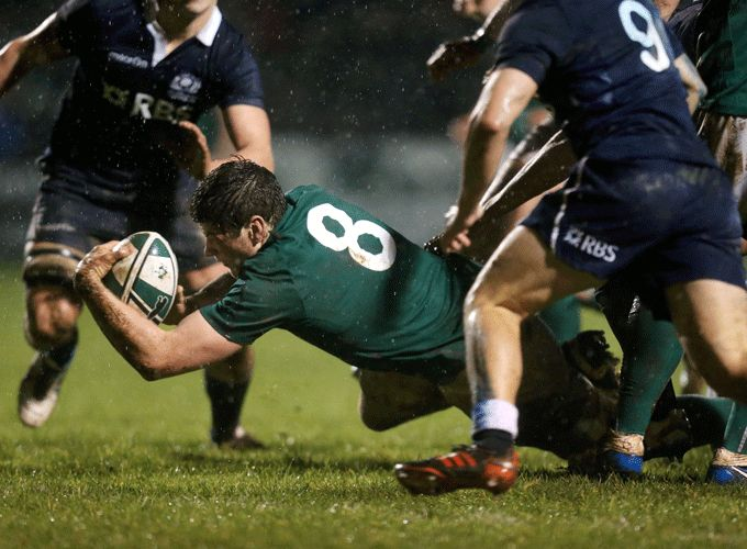 Jack O'Donoghue scores the opening try of Ireland's 2014 6 Nations campaign against Scotland at Dubarry Park