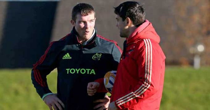 Peter O'Mahony with Conor Murray at Munster training in UL