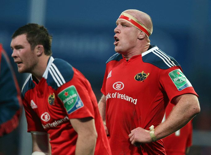 Peter O'Mahony and Paul O'Connell in Heineken Cup action for Munster